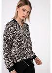 Zebra Desen Crop Ceket-Siyah
