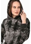 Batik Desenli Beli İp İle Ayarlanabilir İçi Şardonlu Crop Sweatshirt-Haki